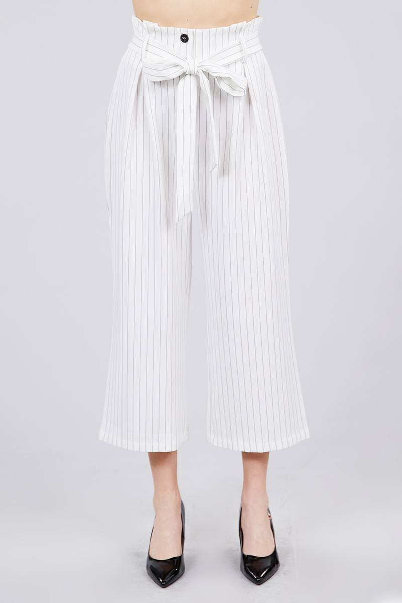 Button Down Paperbag Cullote Stripe Pants - CYFASHION