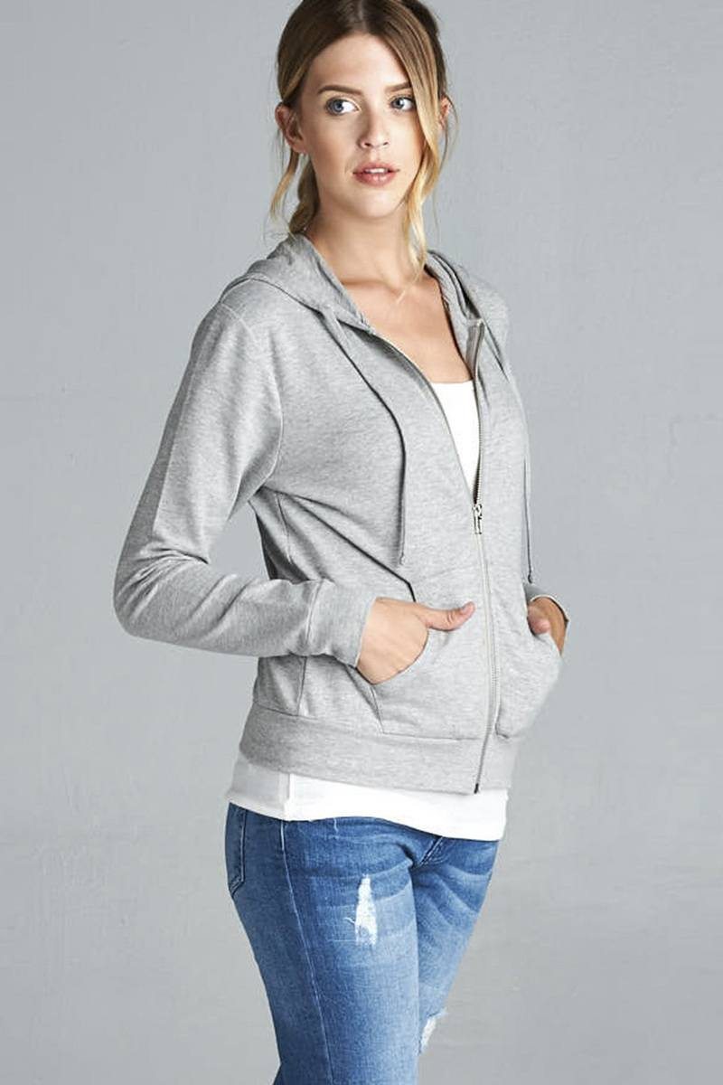 Long Sleeve Zipper French Terry Jacket W/ Kangaroo Pocket - CYFASHION