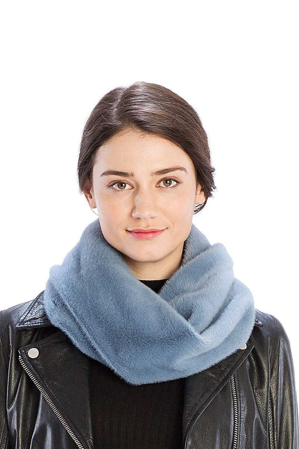 Solid Color Faux Mink Fur Infinity Scarf - CYFASHION