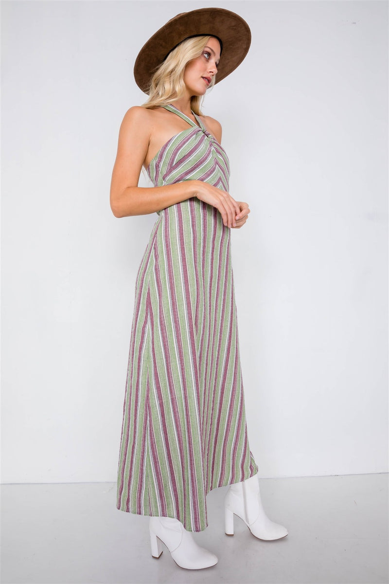 Green Multi Stripe Wooden Center Cut Out Halter Maxi Dress - CYFASHION