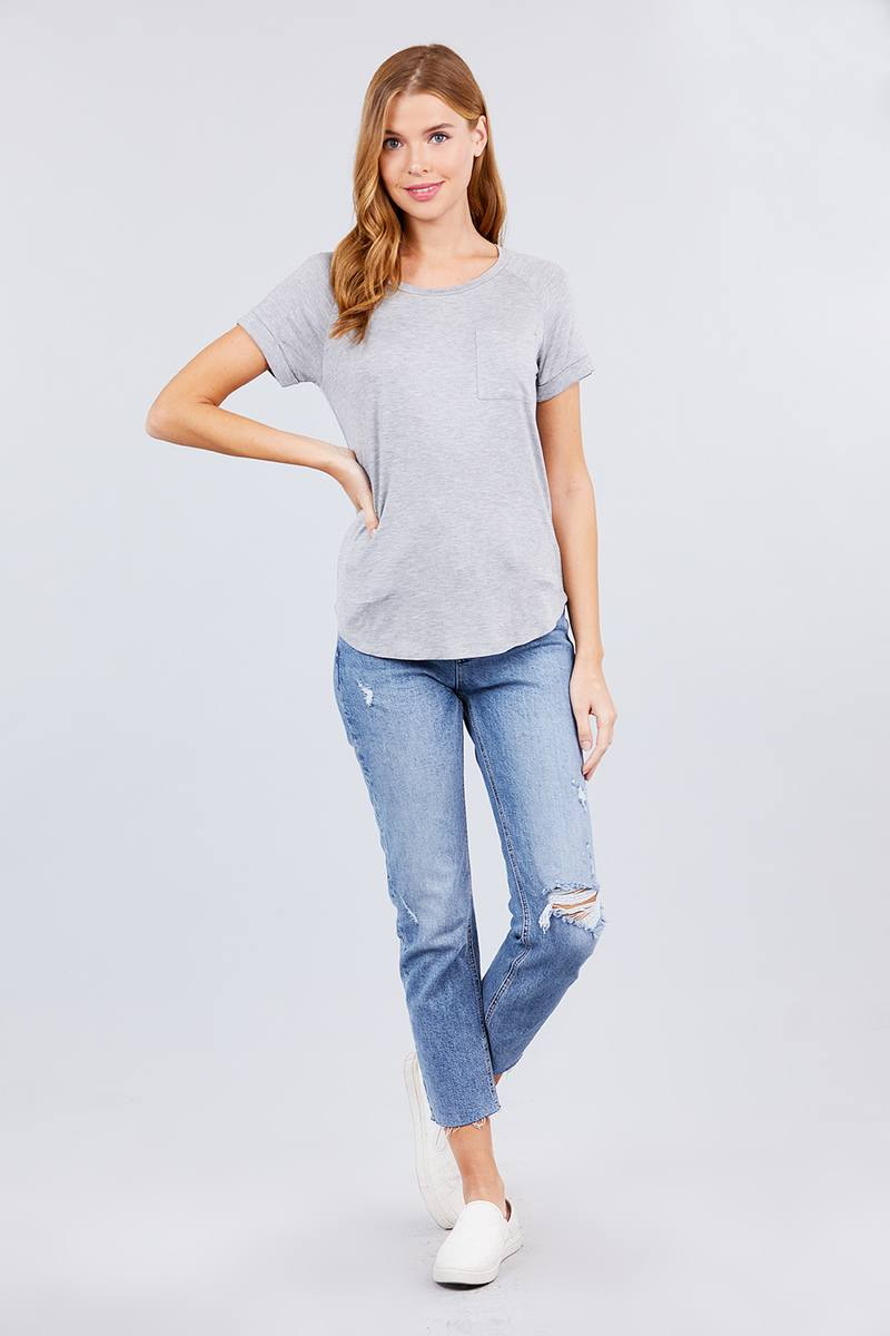 Short Raglan Sleeve Round Neck W/pocket Rayon Spandex Top - CYFASHION