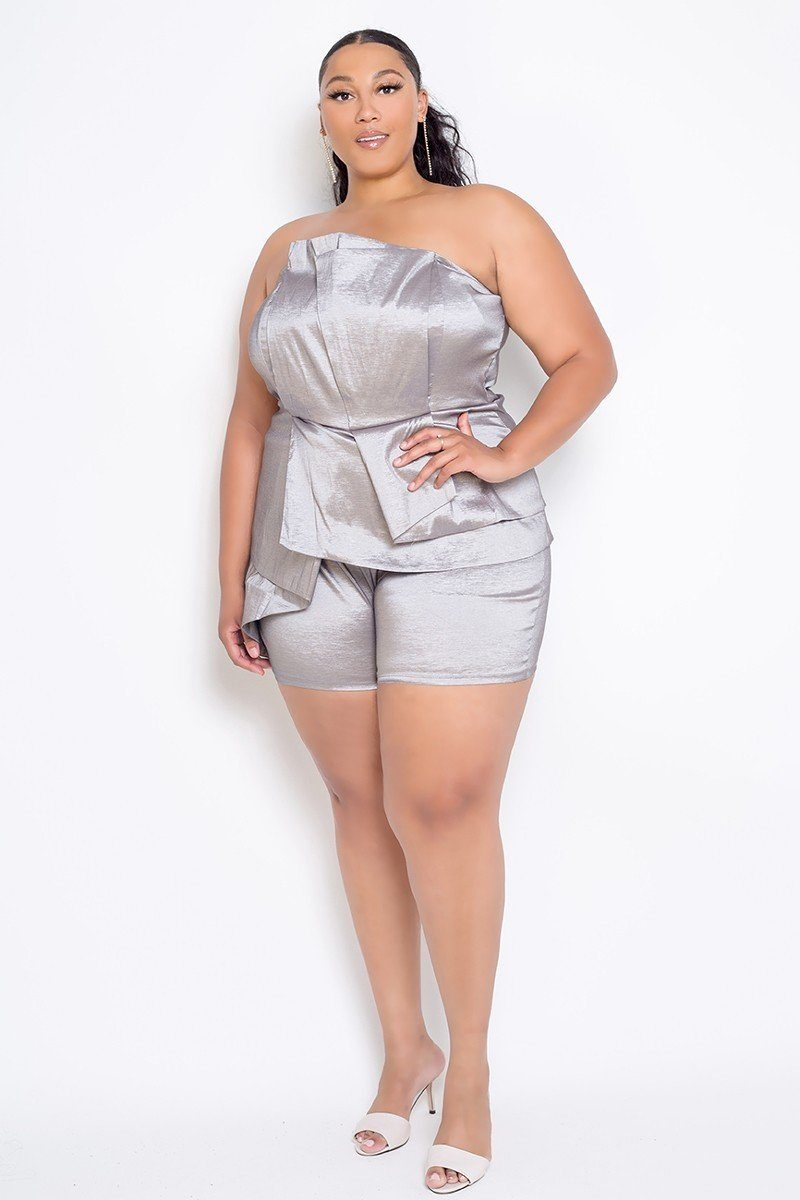 Plus Size Strapless Peplum Romper - CYFASHION