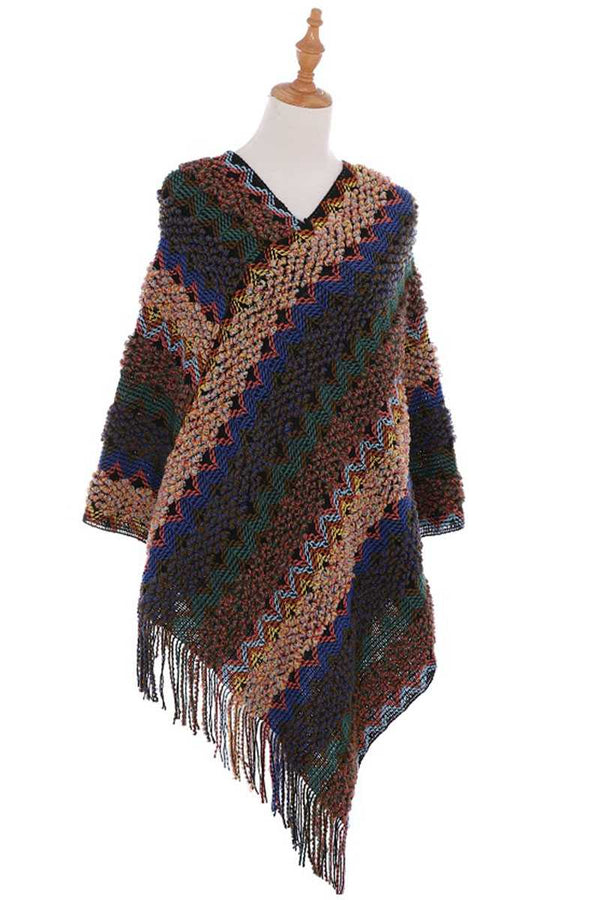 Knitted Multi Color Fringe Cape Poncho - CYFASHION