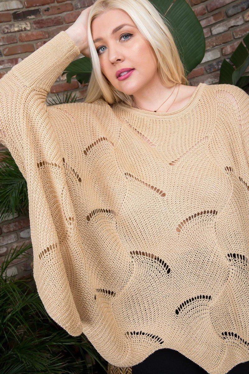 Plus Size Round Neck Long Batwing Sleeve Scalloped Edge Sweater.