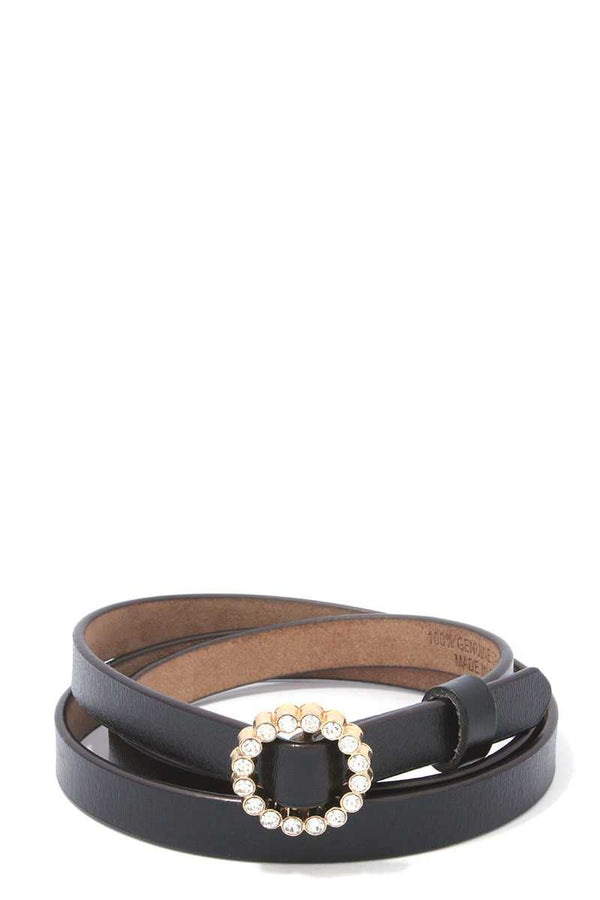 Rhinestone Buckle Pu Leather Belt.