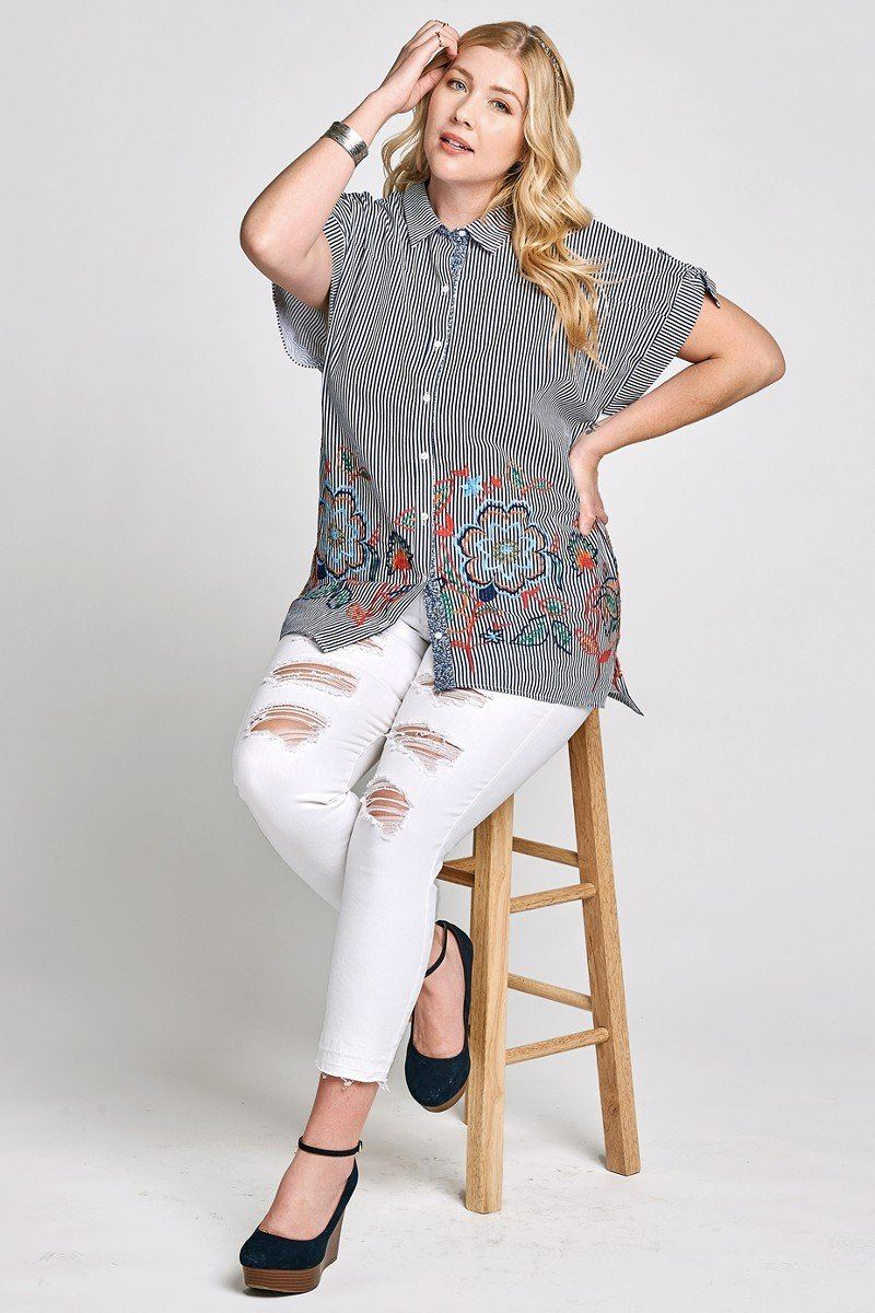 Striped Buttoned Down Collared Blouse - CYFASHION