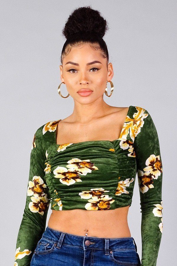 Ruched Velvet Floral Back Tie Crop Top - CYFASHION