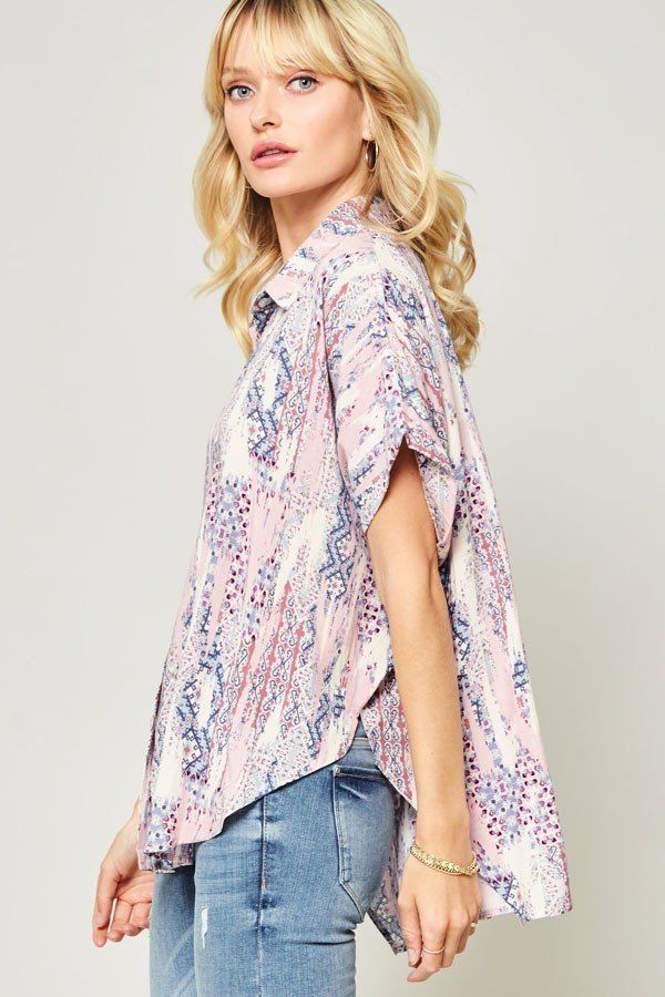 Ornately Patterned Woven Top - CYFASHION