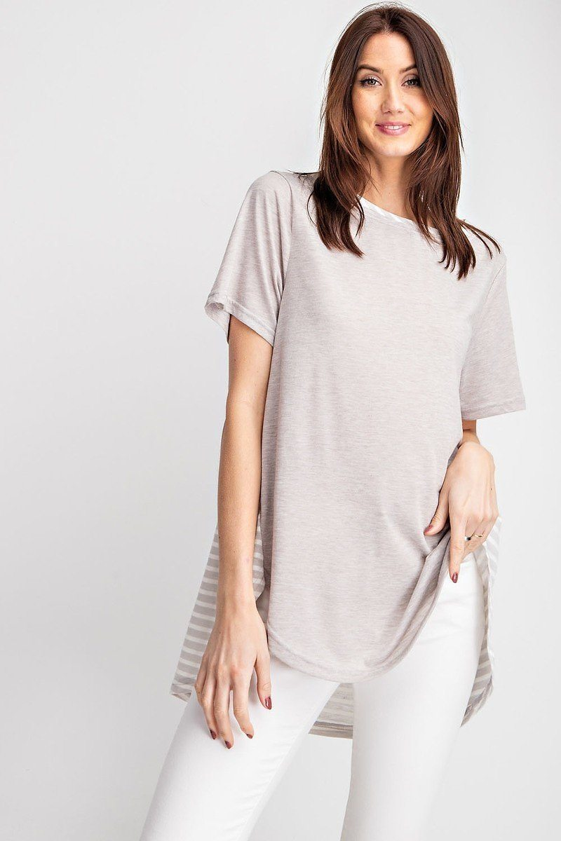 Short Sleeves Rayon Slub Mix And Match Striped Contrast Boxy Top - CYFASHION