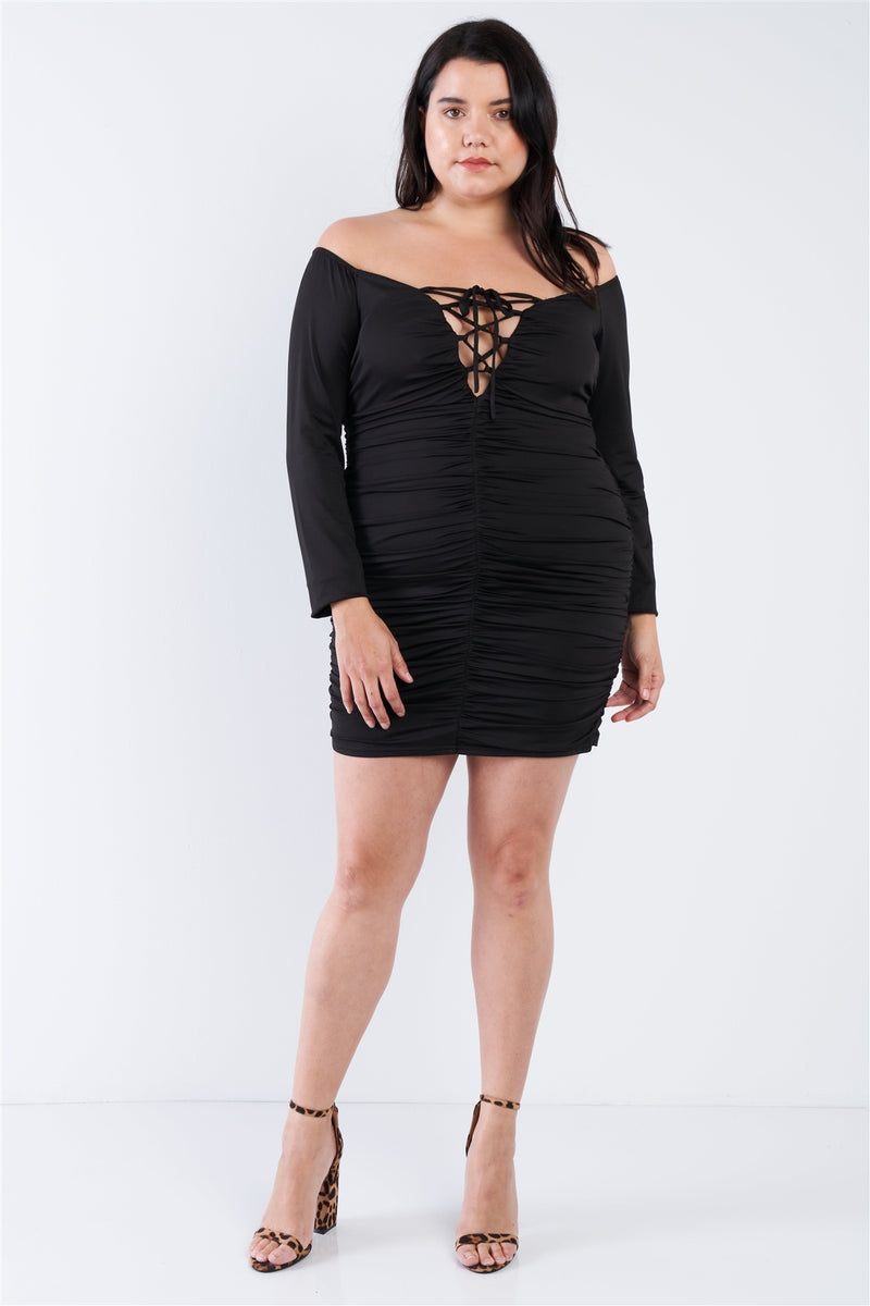 Plus Size Off The Shoulder Lace Up Ruched Mini Dress - CYFASHION