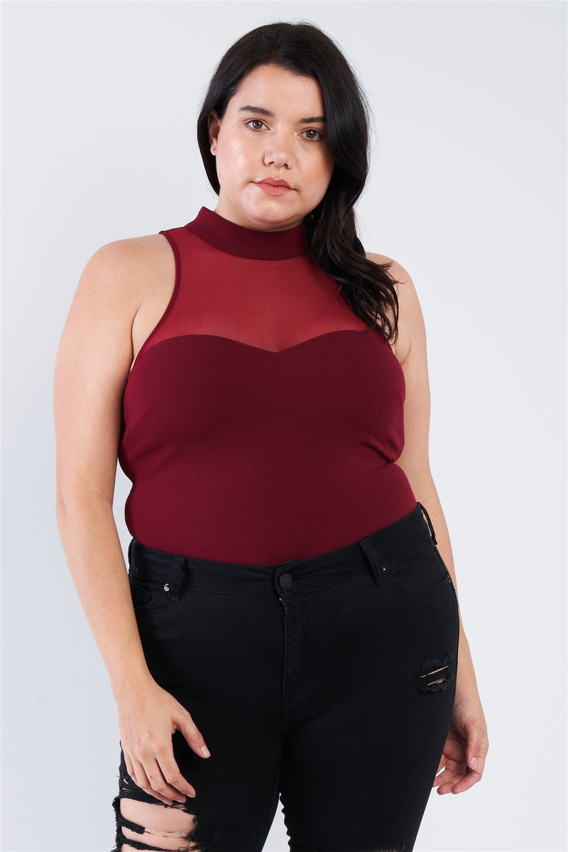 Plus Size Mock Turtleneck Bodysuit - CYFASHION