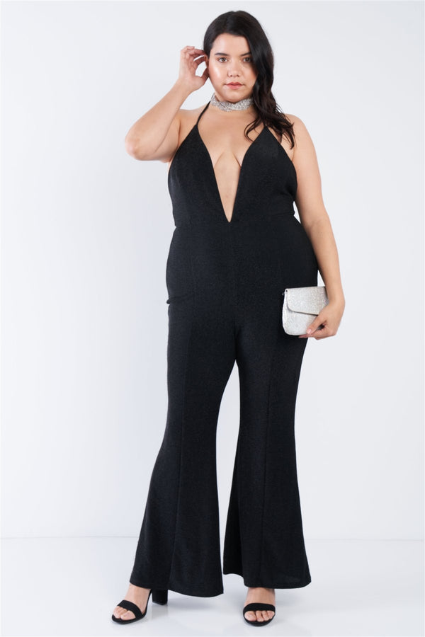 Plus Size Black Sequin Criss Cross Open Back Jumpsuit - CYFASHION
