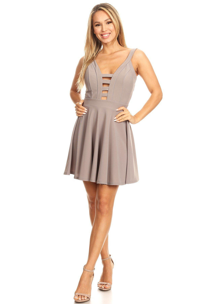 Solid Fit And Flare Dress With Back Zipper Closure, Cutouts, And Spaghetti Straps - CYFASHION