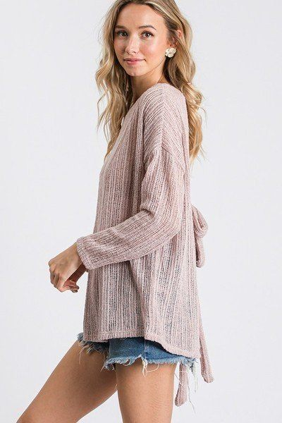 Open Back Detail Long Sleeve Top With Self Tie - CYFASHION