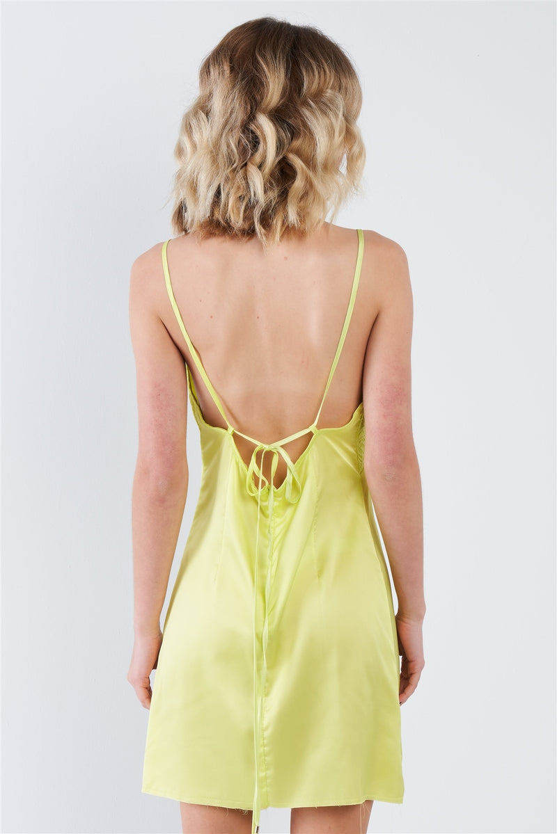 Silk Leave Trim Raw Hem Criss-cross Back Mini Chic Dress - CYFASHION