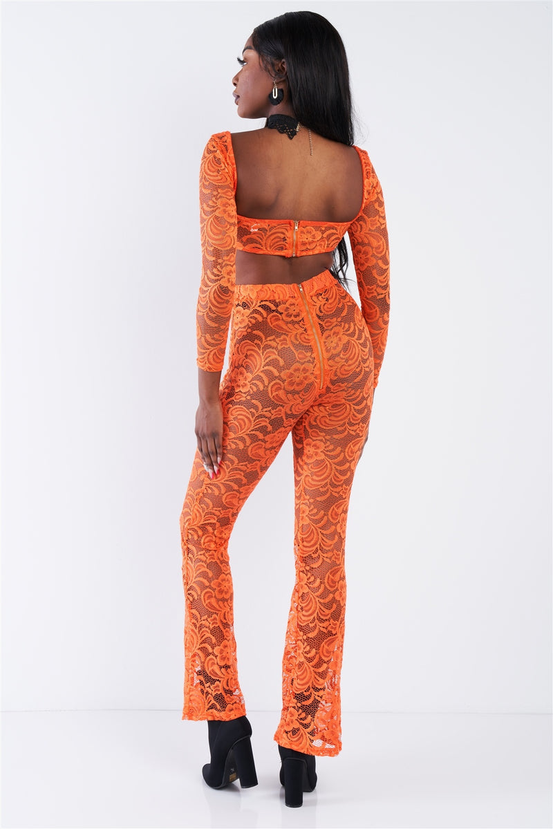 Sheer Floral Lace Crop Square Neck Top & High Waist Flare Pant Set - CYFASHION