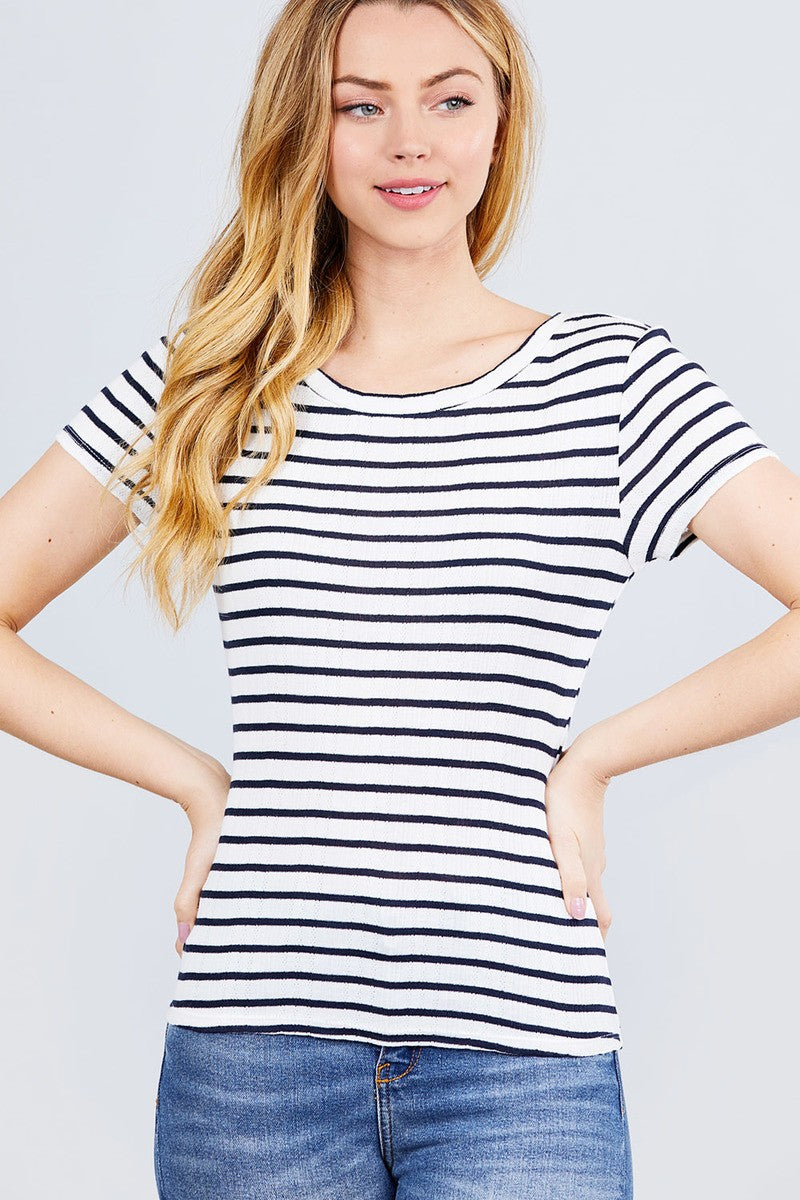 Short Sleeve Crew Neck Stripe Pointelle Knit Top - CYFASHION