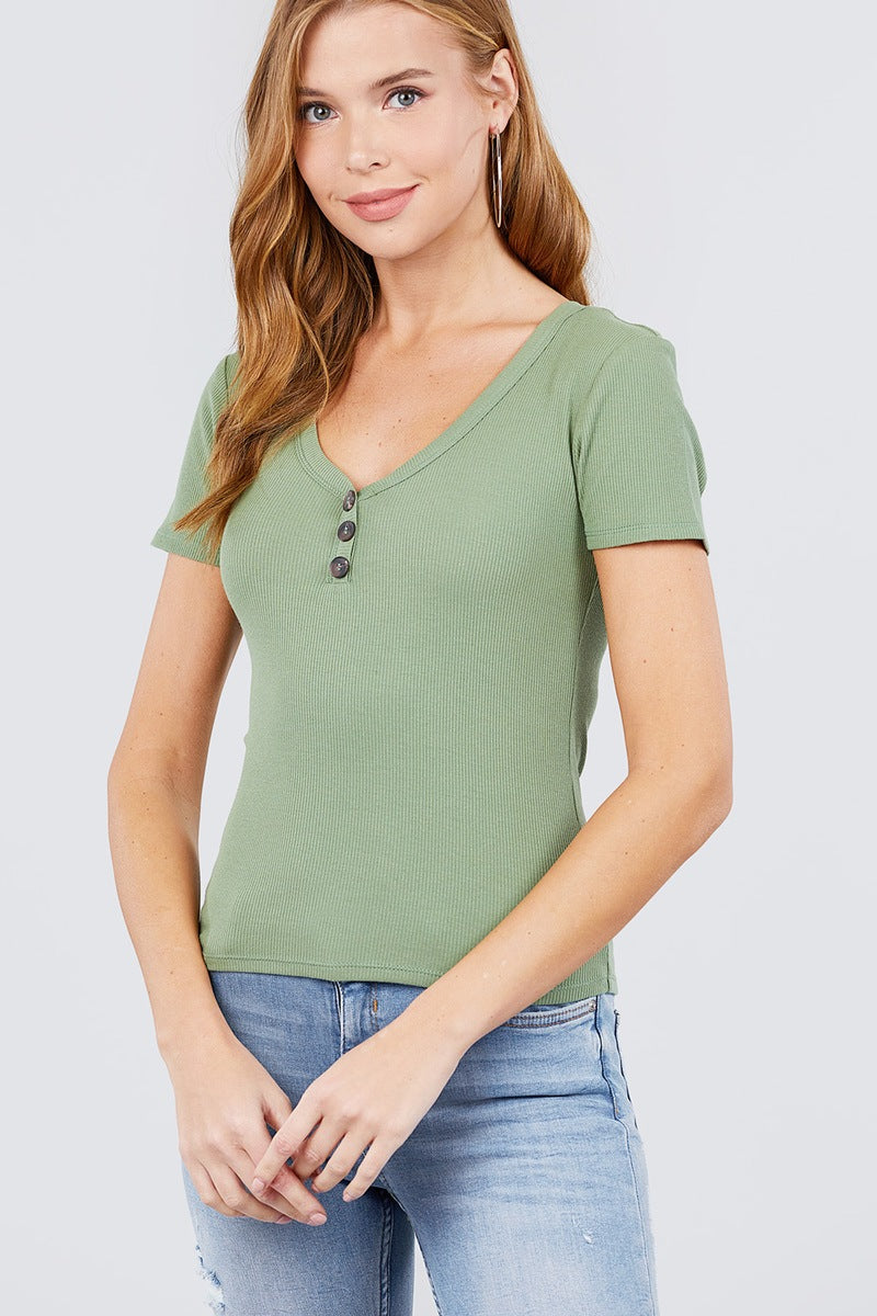 Short Sleeve V-neck W/button Detail Rib Knit Top - CYFASHION