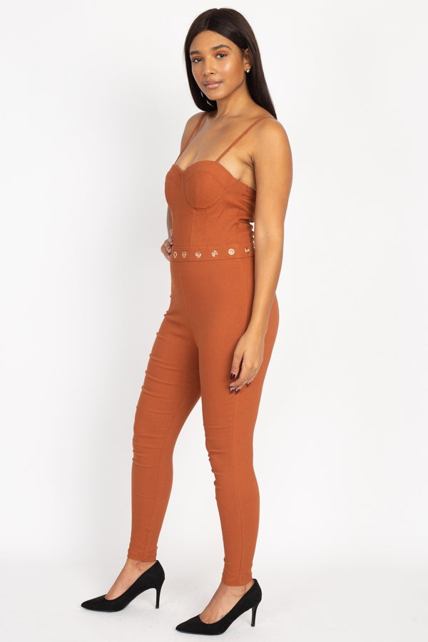 Waist Cutout Skinny Jumpsuit - CYFASHION