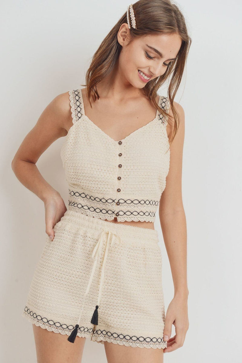 Knit Laced Buttoned Shoulder Strap Top - CYFASHION