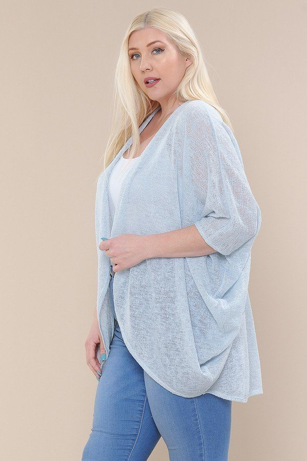 Open Front Cardigan Back V-neck Kimono Sleeves - CYFASHION