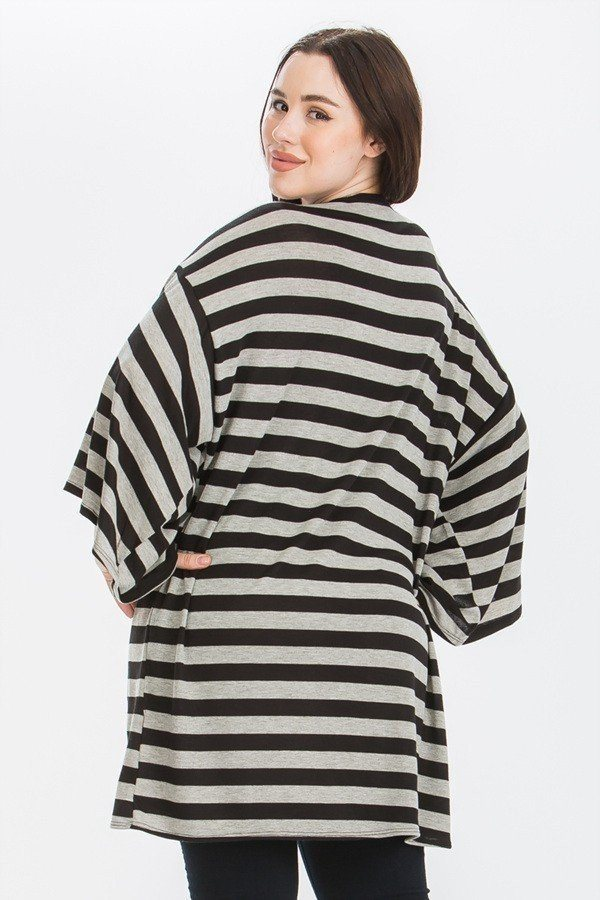Striped, Cardigan With Kimono Style Sleeves - CYFASHION