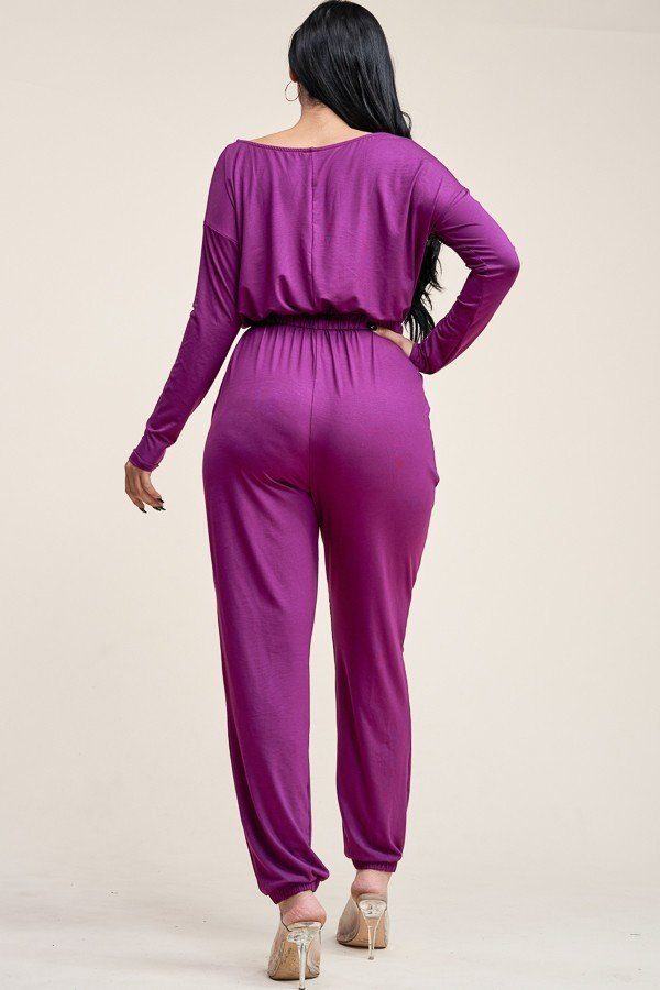 Solid Rayon Spandex Slouchy Jumpsuit With Pockets - CYFASHION