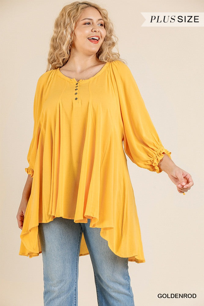 Ruffle Tie Sleeve Button Round Neck Tunic With High Low Hem - CYFASHION
