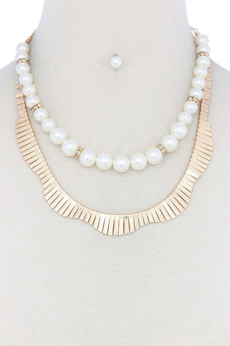Pearl Metal Layered Necklace - CYFASHION