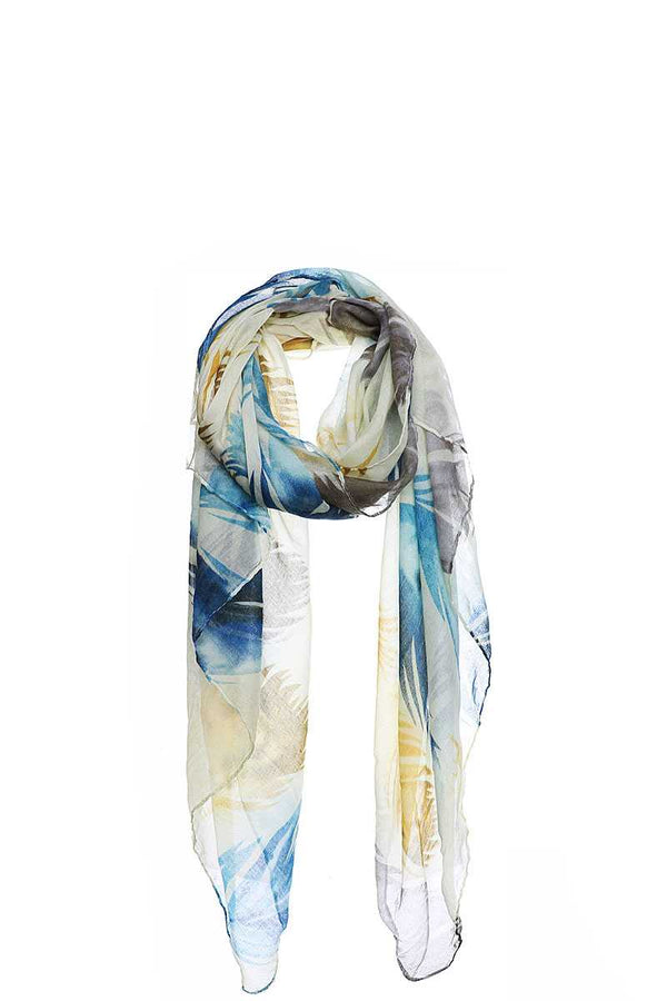 Chic Soft Multi Color Feather Print Scarf - CYFASHION