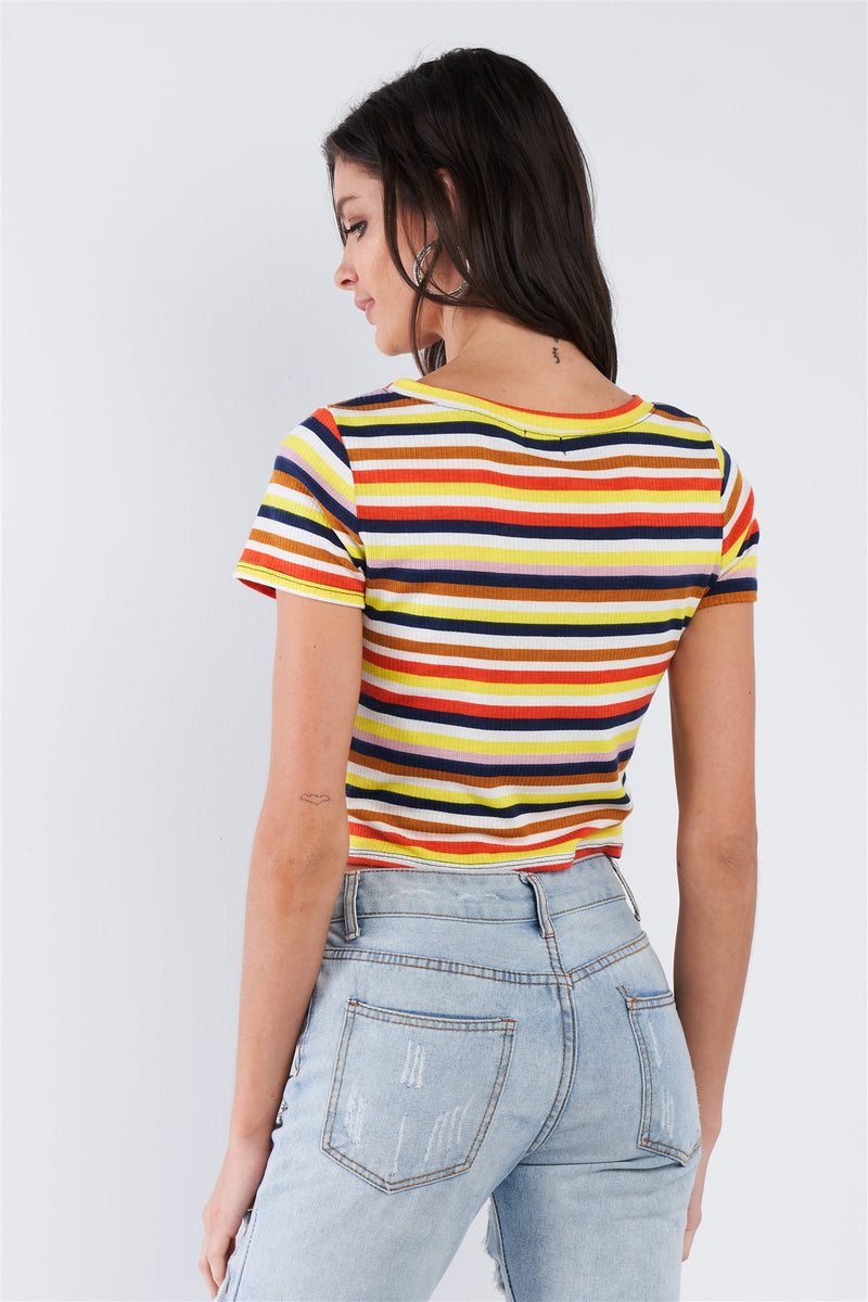 Yellow Retro Chic Multi Stripe Front Knot Crop Short Sleeve Top - CYFASHION