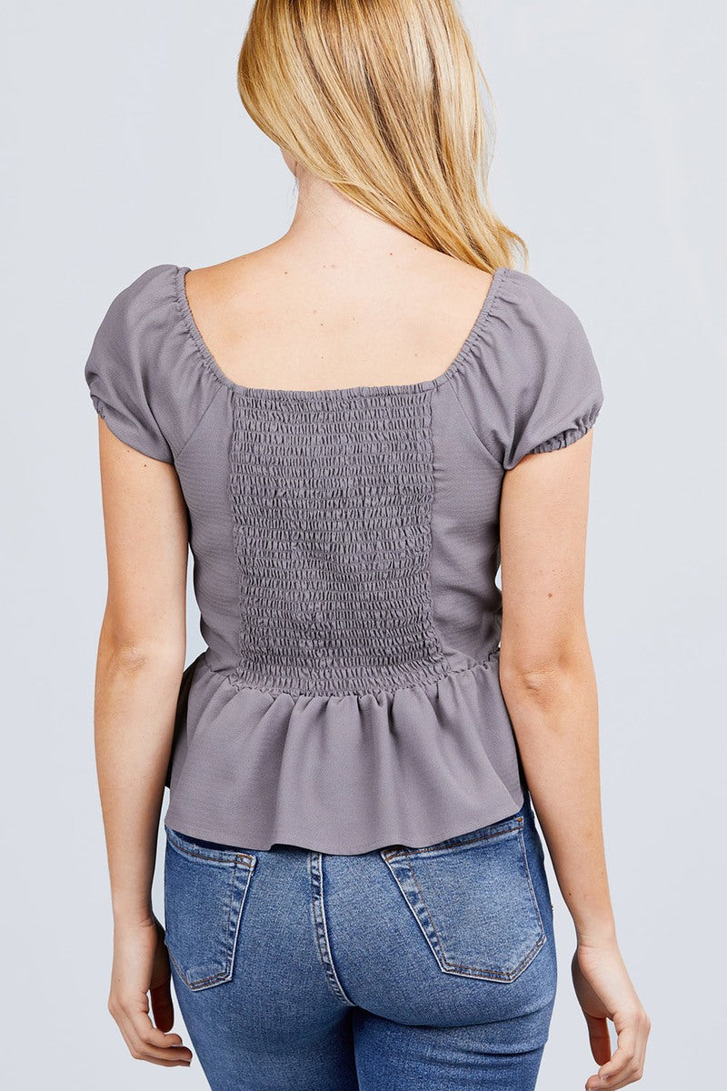 Short Sleeve Heart Neck W/button Back Smocking Detail Flare Hem Woven Top - CYFASHION