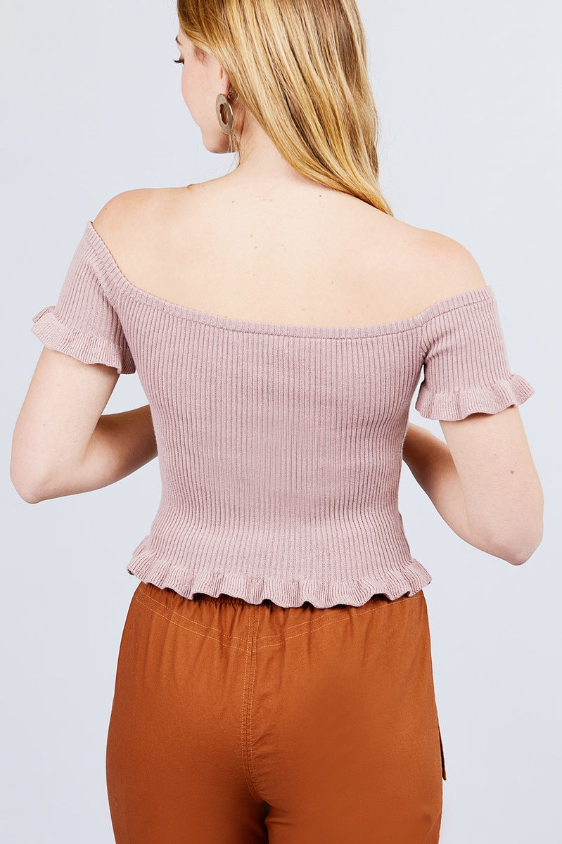 Short Sleeve Off The Shoulder W/ruffle Detail Sweater Top - CYFASHION