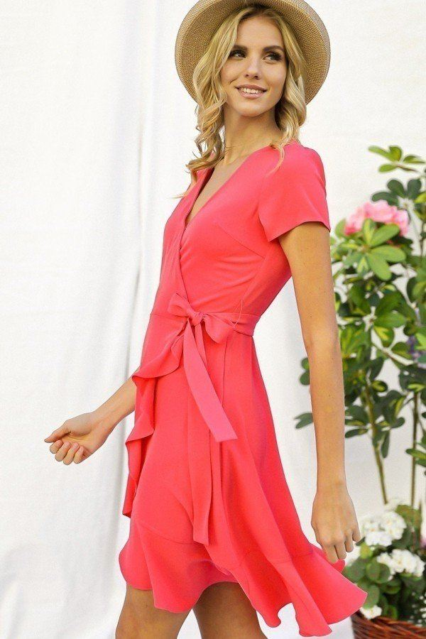 Solid Basic Ruffle Detailed Tulip Overlay Short Sleeve Surplice Dress With Ribbon Tie Waist Detail - CYFASHION