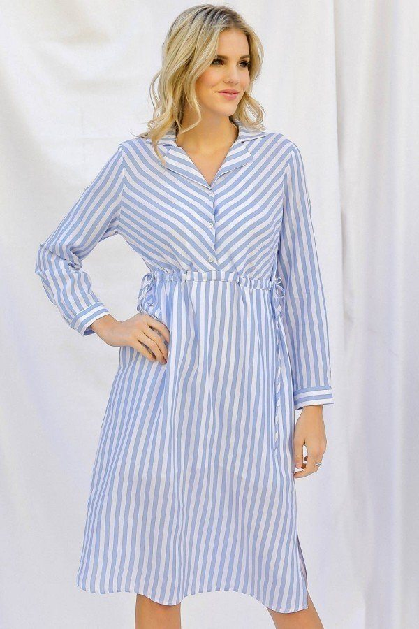 Stripe Print Cinched Waist Long Sleeve Shirt Midi Dress - CYFASHION