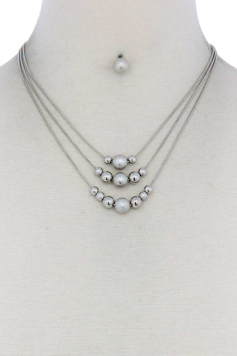 Metal Bead Layered Necklace - CYFASHION