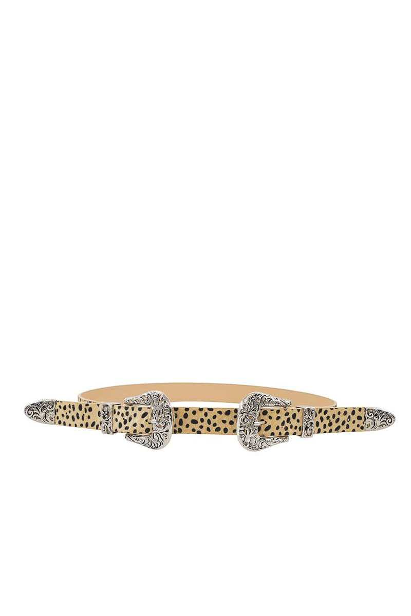 Trendy Stylish Leopard Double Buckle Belt - CYFASHION