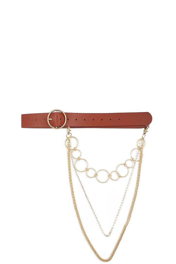 Fashion Round Buckle Belt With Triple Layer Chain Accent - CYFASHION