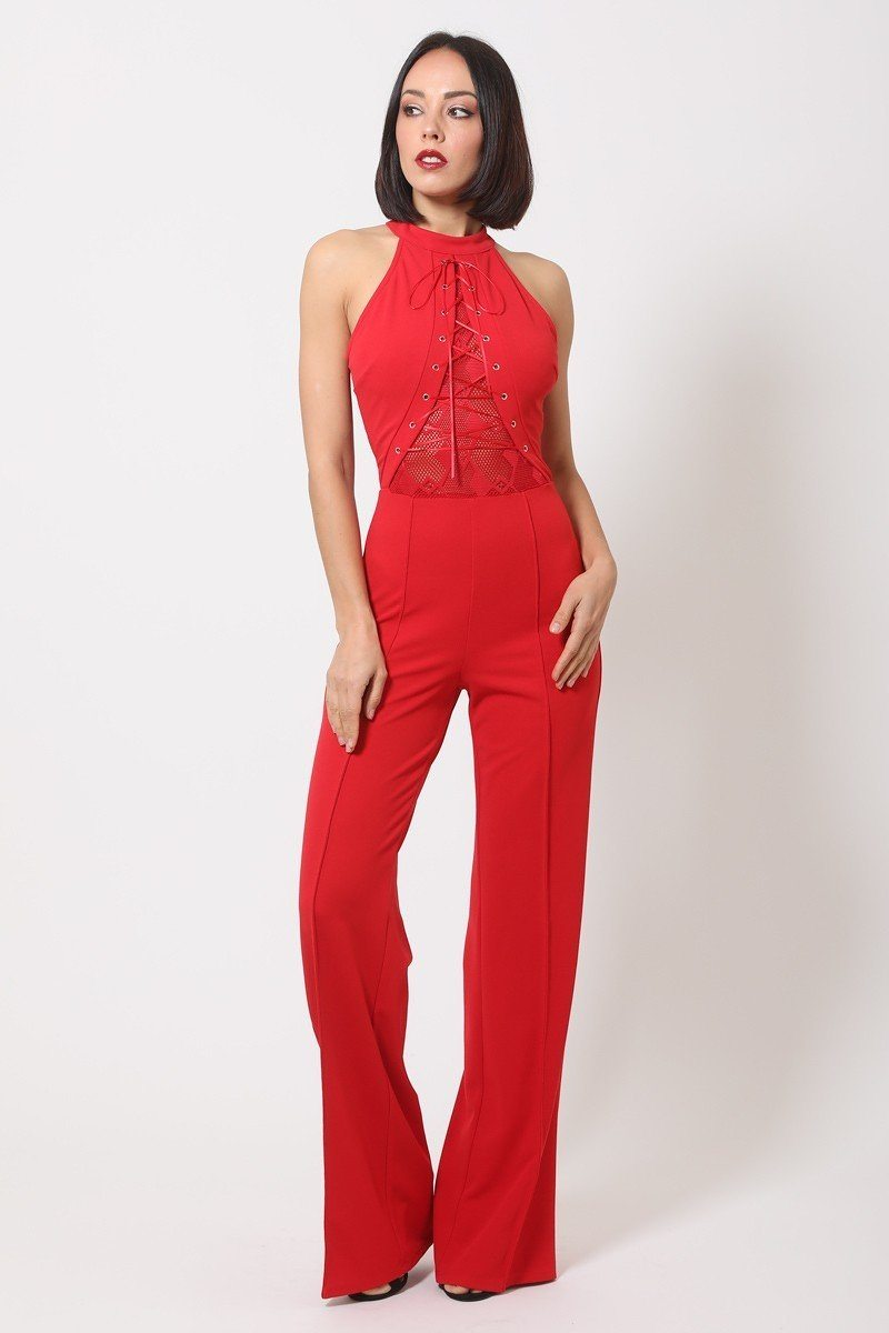 Halter Neck Jumpsuit W/ Criss Cross Front Tie Designs - CYFASHION