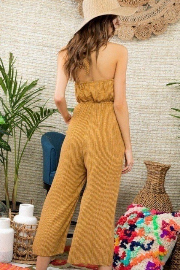 Halter Neck Front Lace Patch Detail Printed Jumpsuit - CYFASHION