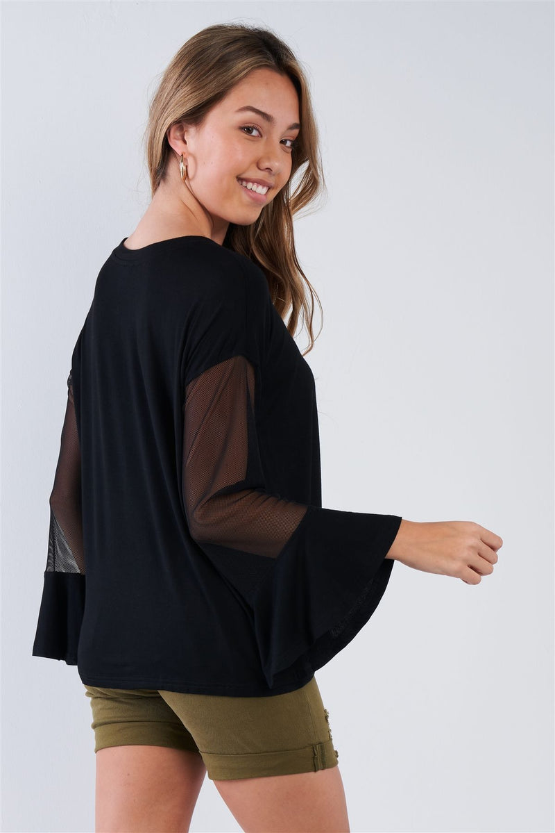 Long Mesh Sleeve Top - CYFASHION