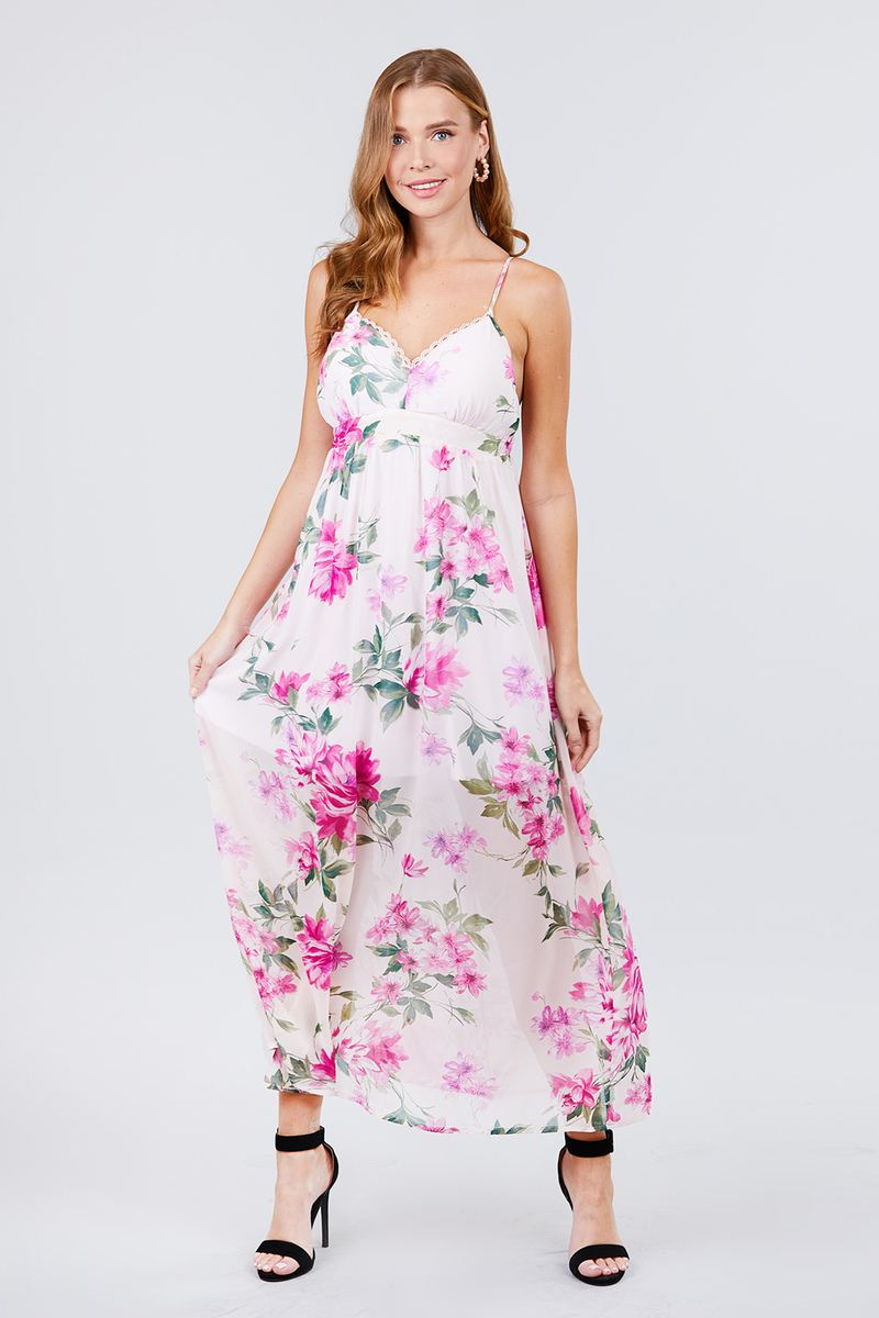Deep V-neck W/cross Strap Print Maxi Dress - CYFASHION