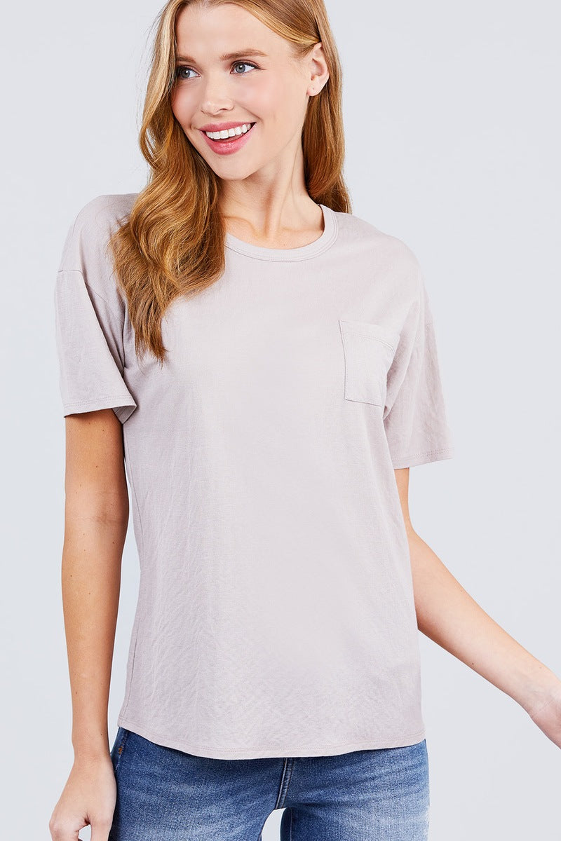 Short Sleeve Round Neck One Pocket Box Knit Top - CYFASHION
