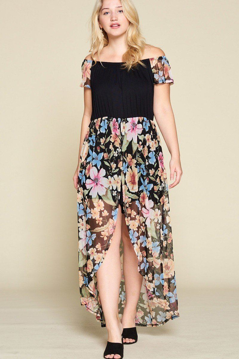 Plus Size Solid Jersey Maxi Romper - CYFASHION