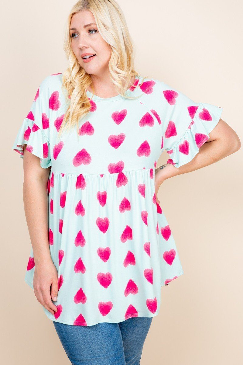 Plus Size Cute Adorable Heart Jersey Babydoll Tunic Top - CYFASHION