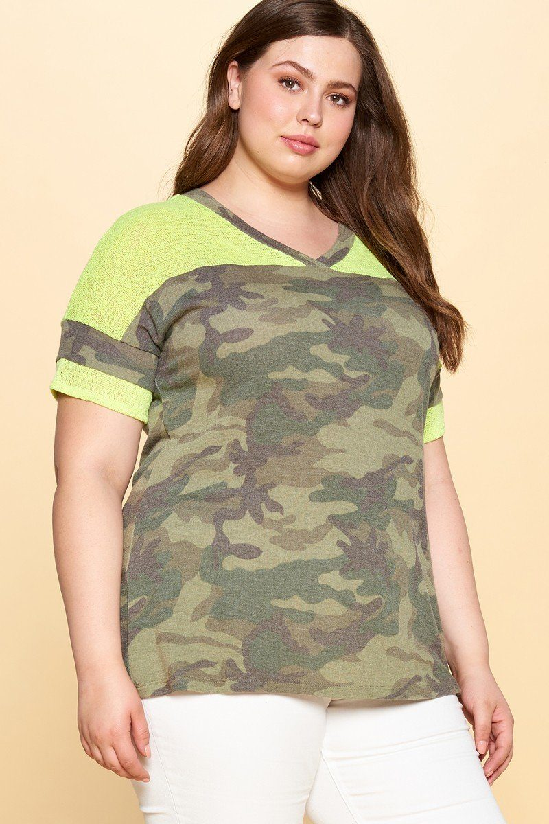 Camouflage Printed Loose-fit Knit Top - CYFASHION