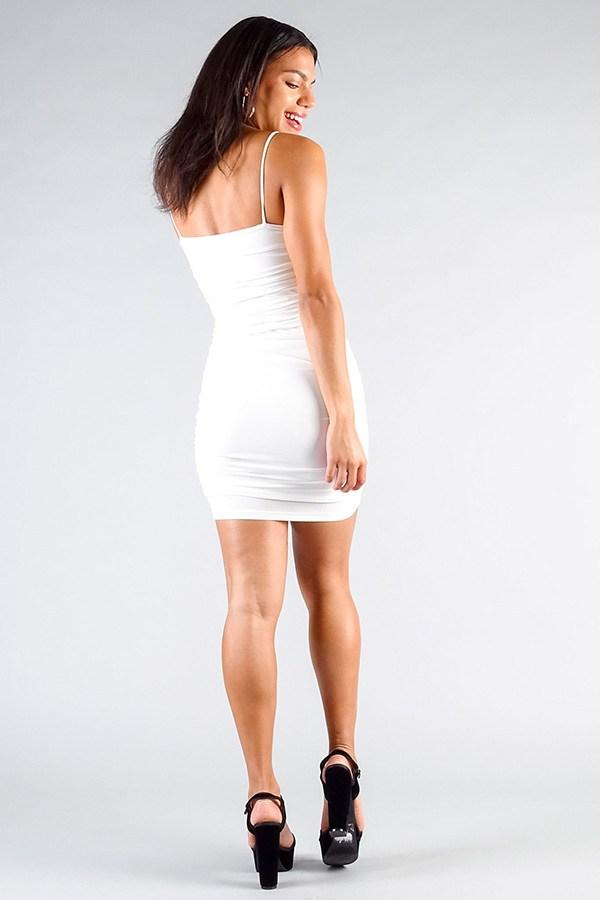 Spaghetti Strap Gathered Front Ruched All Over Mini Dress - CYFASHION