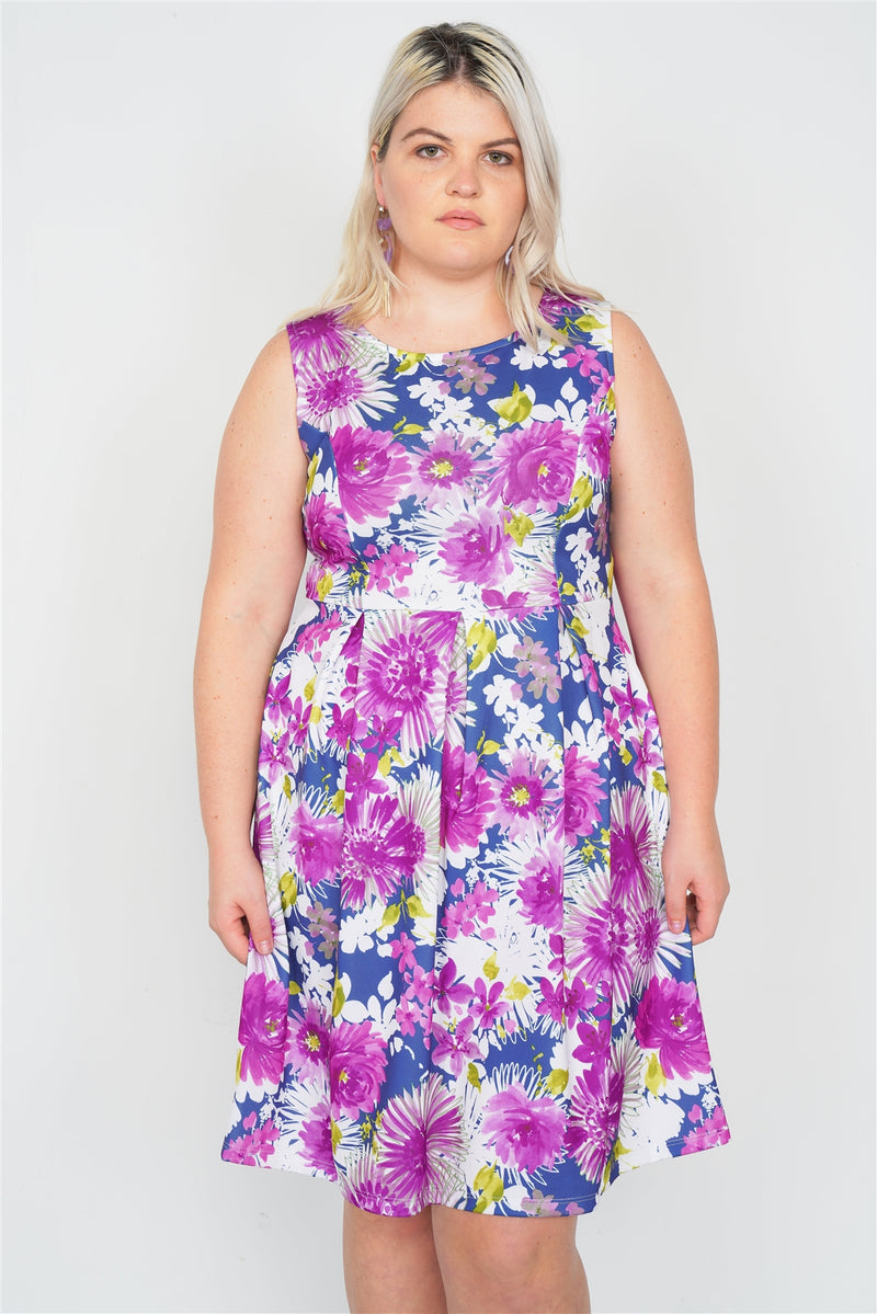Plus Size Purple Navy Watercolor Floral Print Casual Midi Dress - CYFASHION