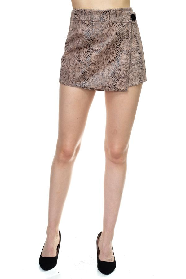 Faux Suede Snake Print Mini Shorts - CYFASHION