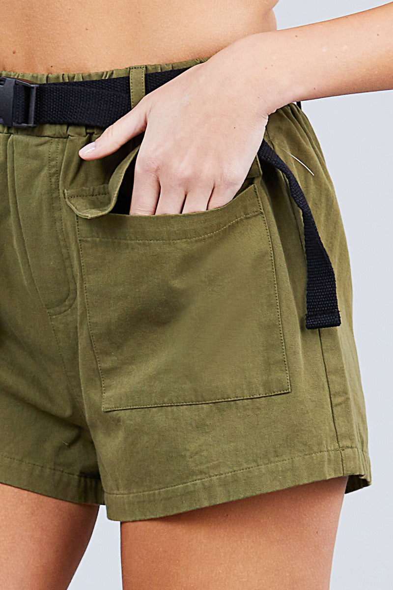 Twill Belted Side Pocket Cargo Cotton Short Pants - CYFASHION